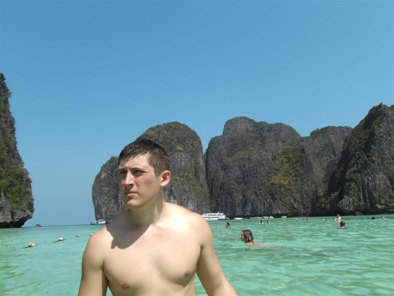 John at Maya Bay in Thailand's heavenly islands.