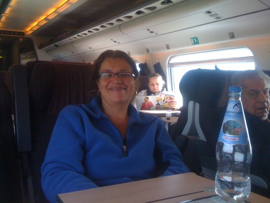 Eliane on a train to Firenza, Italy. Jet-set life!