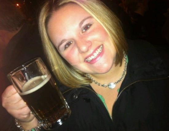 Lindsay enjoying a drink in her hometown.