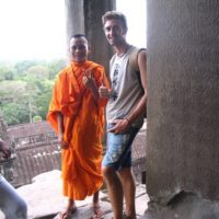 Baz with a monk in Ankor Wat, Cambodia.