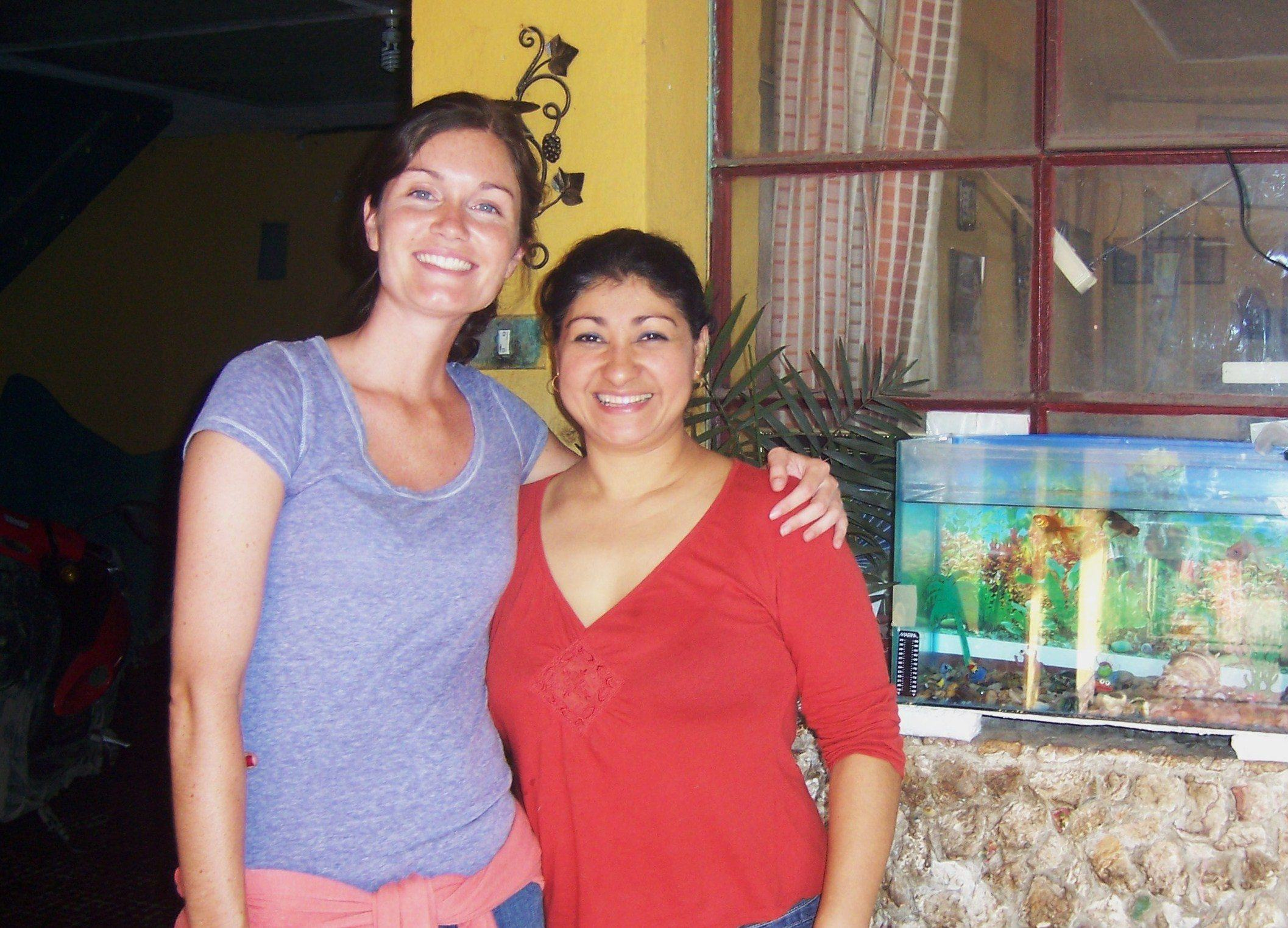 Kate and Rosario, the Mom of the house in Antigua.