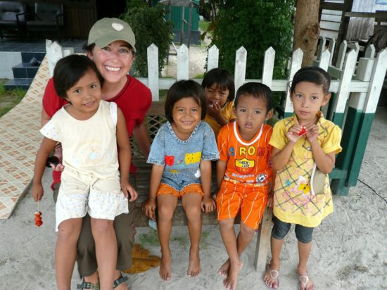 Lisa with kids in Indonesia. So wonderful!