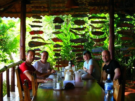 Tim having breakfast with new friends in Costa Rica.
