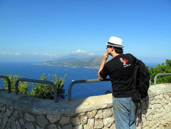 Whitney's husband, Chris, enjoying the view in Capri, 2011.