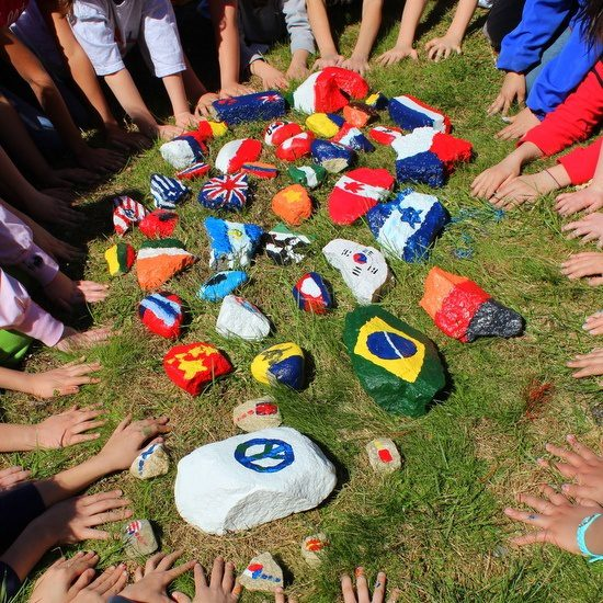 In Sara's classroom, students design their own projects, like this peace rock garden.