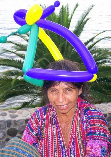 The result of Sara making friends with balloons in Guatemala.