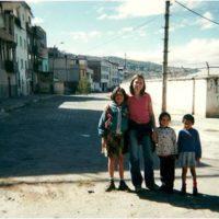 Maureen with students in Ecuador.