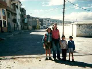 Maureen with students in Ecuador.