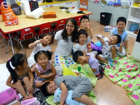 "On ""Pajama Day"" with class in South Korea. So cute!"