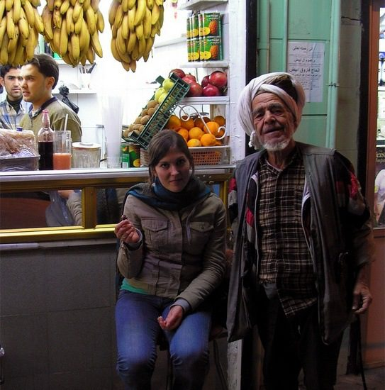 Claire with an eccentric shepherd in Aleppo, Syria.