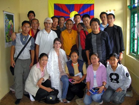Claire with her students: Tibetan refugees who live in McLeod Ganj, India.