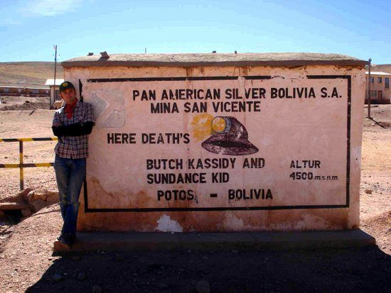 At Butch Cassidy and the Sundance Kid's grave in Potosi, Bolivia.