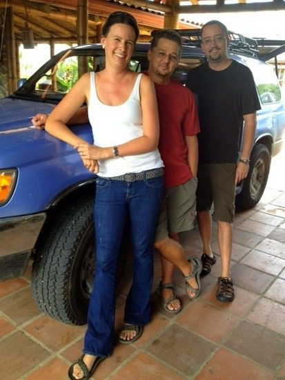 """""""Team LifeRemotely"""": Kobus, his wife, and her brother."""