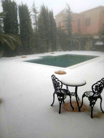 Bill's sister in law's home. It does snow in Jordan!