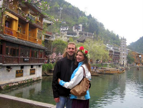 Alyssa in Feng Huang, Hunan, China with her boyfriend for her 23rd birthday.