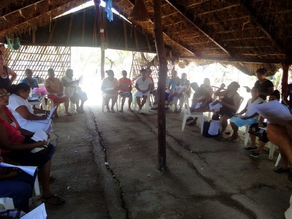 Ben helping with a talk on diabetes with community members in Nicaragua.