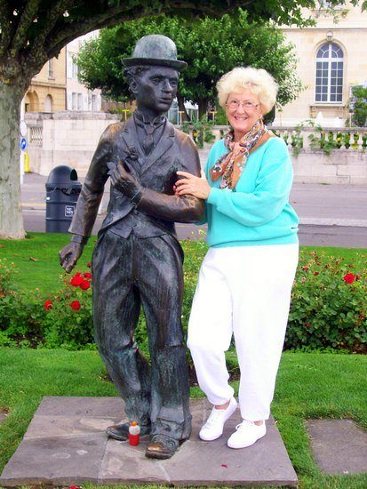 With the Charlie Chaplain statue in Switzerland.