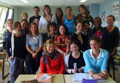Rashaad and one of his classes in Eu, France.