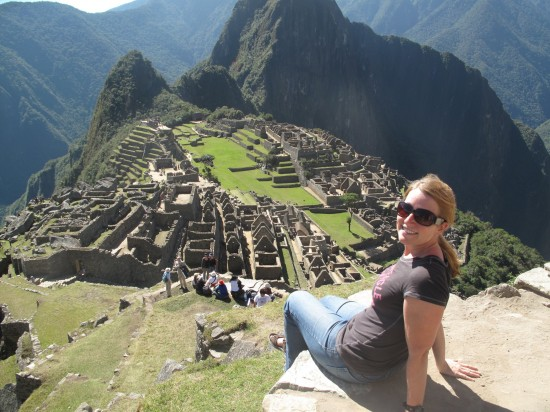 Sarah at Machu Pichu with a Global Journeys group.