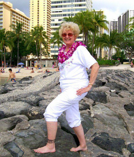 Posing beautifully at Waikiki Beach, Hawaii.