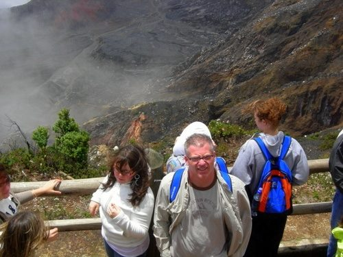 At the mouth of Arenal Volcano during group Costa Rica travel.