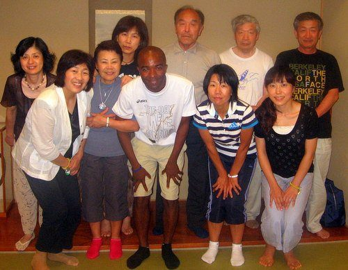Rashaad and his Tuesday evening English conversation class at his 送別会 (soubetsukai - farewell party) in Tsuruoka, Japan.