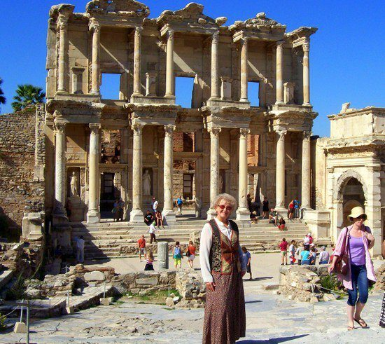 At the ruins of the Celsus Library in Ephesus, Turkey.