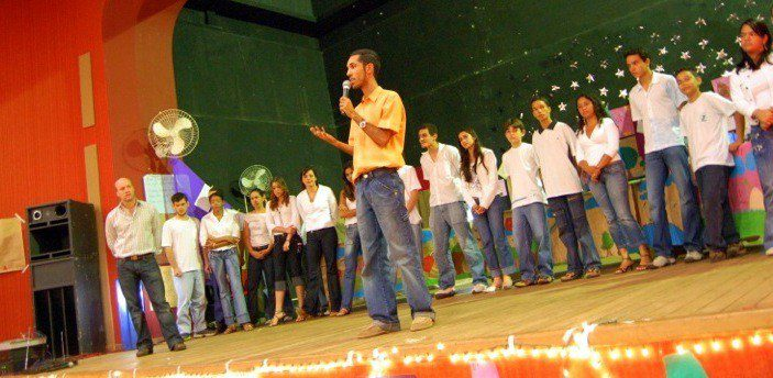 Daniel and Kurt Introduce Performances at their School in Brazil.