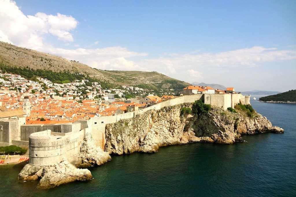 Finding an overlook at the Old Walled City of Dubrovnik, Croatia in Europe.