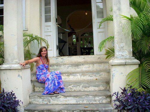 Sitting on Hemingway's stoop in Cuba.