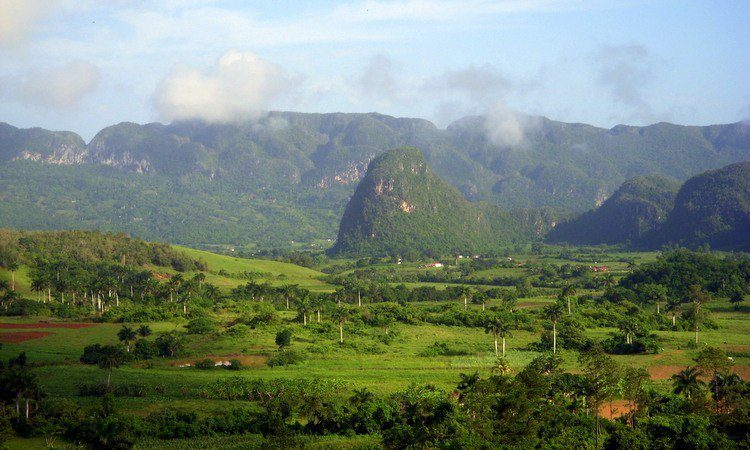 The magical mountain mound formations in Vinales, Cuba.