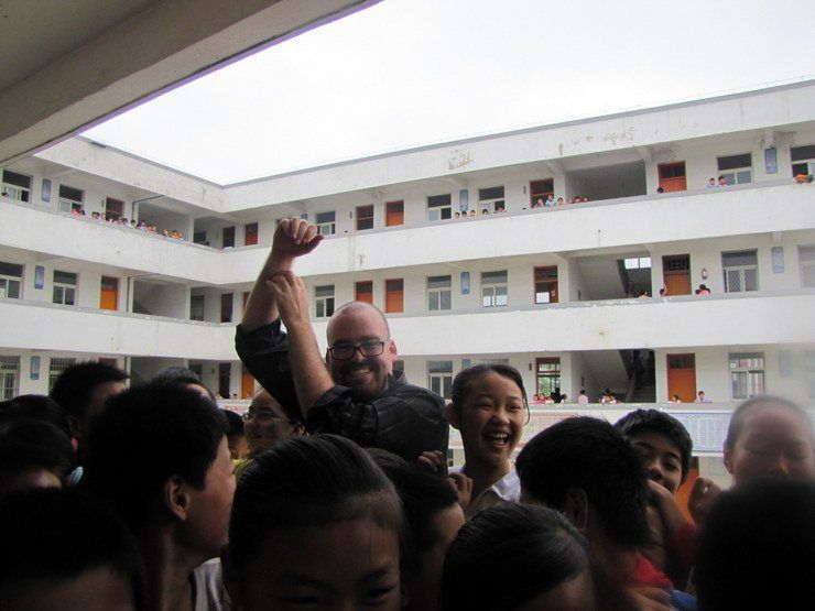 A school where Chris taught in China. Popular man!