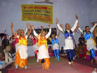 A student performance in India for traveling teacher, Gail!