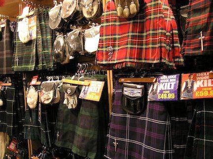 Kilts of many colors in Edinburgh, Scotland.