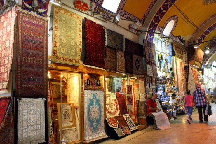 Rugs in the Grand Bazaar in Istanbul, Turkey.