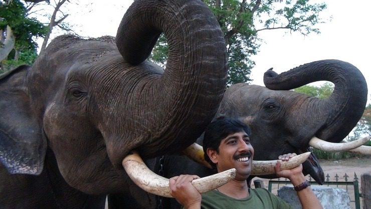 Bhaskar and elephant in India!