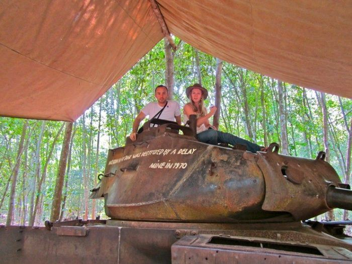 Exploring the Cu Chi tunnels in Southern Vietnam.