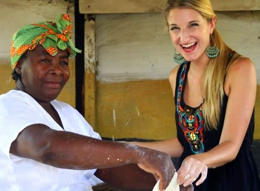 Making cassava bread with the Garifuni in Dangriga, Belize.