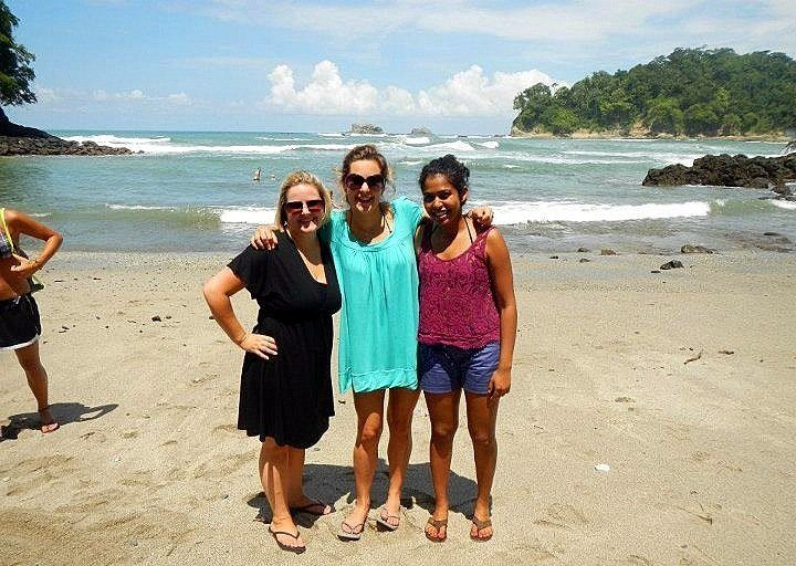 Lindsay on a beach in Manuel Antonio, Costa Rica with her housemates, on a break from volunteering.