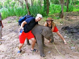 Cameron and Maggie at Patara Elephant Farm in Thailand.