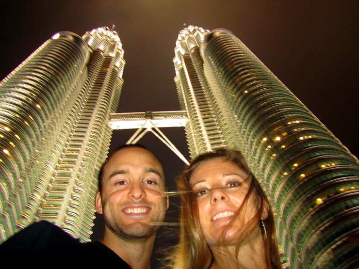 Cameron and Maggie at Petronas Towers in Kuala Lumpur.