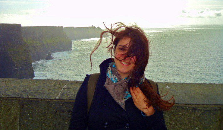 Blown by the wind in the Cliffs of Moher, Ireland.
