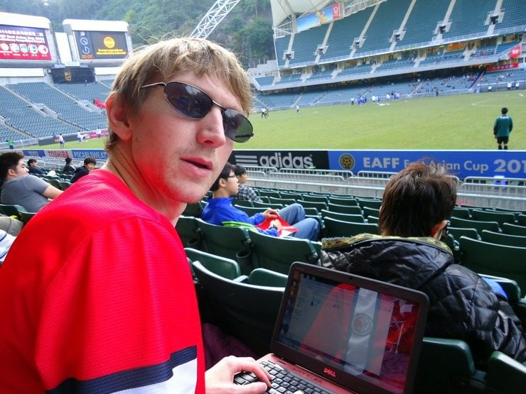 Jonny updating his blog at half time in a football match!
