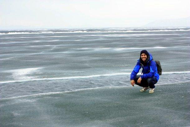 Ian standing on Lake Baikal, Russia.