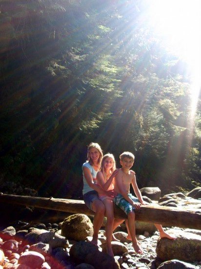 What beautiful nature Vancouver has! Mat's wife poses with their children.