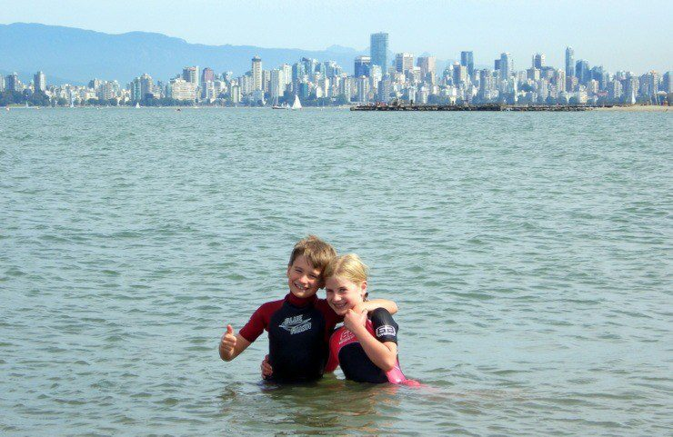 Mat's children swimming in Vancouver.