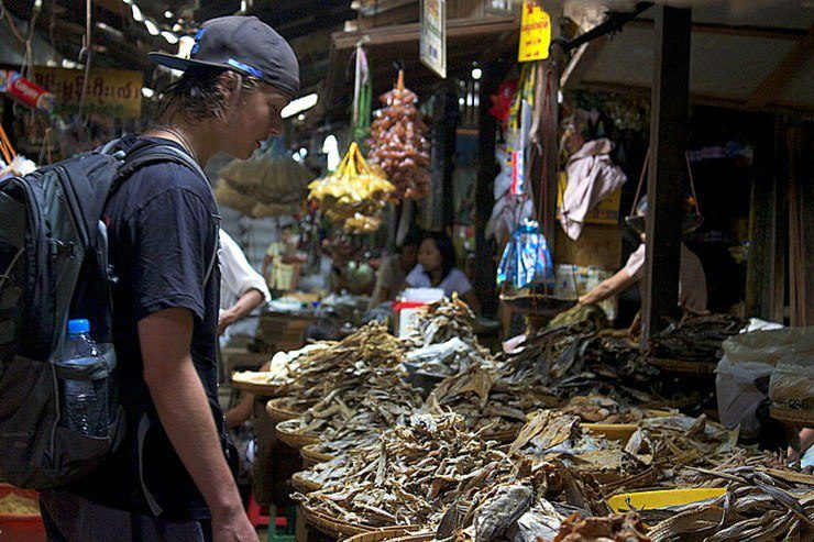 Tyler takes in the sights, sounds and smells of a market in Bagan.