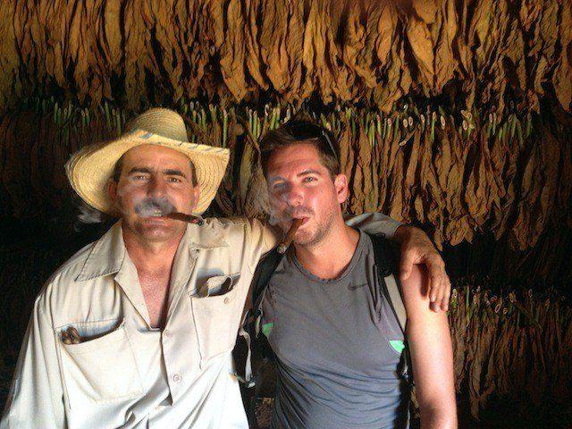 WIth a Cuban Tobacco Farmer.