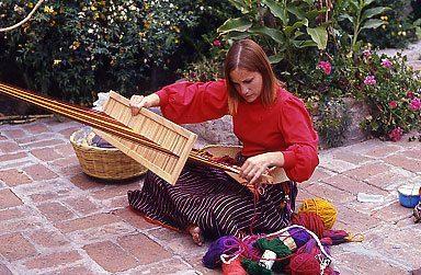 Bonnie weaving in San Miguel.