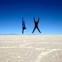 Sam and Zab on the Salar de Uyuni, Bolivia.